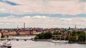 Vue aérienne de panorama à Stokholm de point de vue de Katarina chez Stokholm, Suède Photographie stock libre de droits