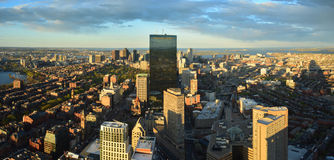 Vue aérienne de panorama de Boston Images libres de droits