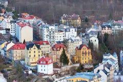 Vue aérienne de panorama de Karlovy Vary, République Tchèque Images libres de droits