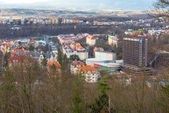 Vue aérienne de panorama de Karlovy Vary, République Tchèque Image libre de droits