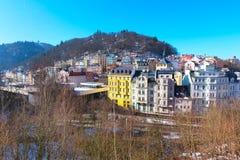 Vue aérienne de panorama de Karlovy Vary, République Tchèque Photographie stock libre de droits
