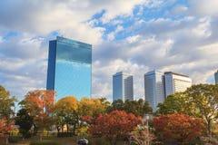 Vue aérienne de panorama du paysage urbain d'Osaka Photographie stock libre de droits