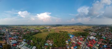 Vue aérienne de panorama de photographie de bourdon de pinang de pulau de pauh de permatang Images stock
