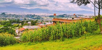 Vue aérienne de Panoroma de capitale de ville de Katmandou du Népal, oeil d'oiseau images stock