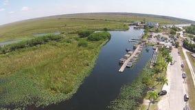 Vue aérienne de parc d'airboat de marais Photographie stock