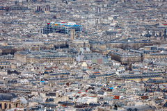 Vue aérienne de Paris central avec le centre Georges Pompidou, franc photographie stock