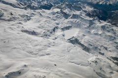 Vue aérienne de paysage dans la région de ski de Breuil-Cervinia, Italie photographie stock libre de droits