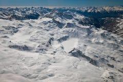 Vue aérienne de paysage dans la région de ski de Breuil-Cervinia, Italie photographie stock