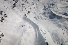 Vue aérienne de paysage dans la région suisse de ski de Zermatt avec Fluhalp images stock