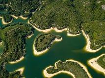 Vue aérienne de paysage de réservoir Images libres de droits