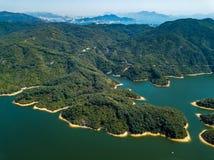 Vue aérienne de paysage de réservoir Image stock