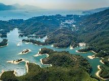 Vue aérienne de paysage de réservoir Images stock