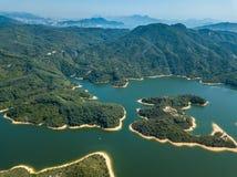 Vue aérienne de paysage de réservoir Photographie stock
