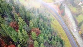 Vue aérienne de pente de montagne le long du chemin de fer, de la route et de la rivière carpathiens banque de vidéos