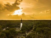 Vue aérienne de phare d'île de chasse Image stock