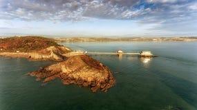 Vue aérienne de pilier de marmonnements à Swansea Photographie stock