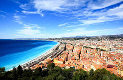 Vue aérienne de plage à Nice Image stock