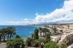 Vue aérienne de plage à Nice Photographie stock libre de droits