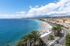 Vue aérienne de plage à Nice Photo stock
