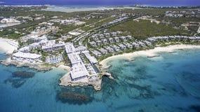 Vue aérienne de plage d'Anguilla Photographie stock libre de droits
