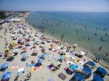 Vue aérienne de plage dans Katerini, Grèce Photo stock
