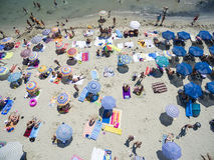 Vue aérienne de plage dans Katerini, Grèce Photographie stock libre de droits