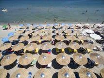 Vue aérienne de plage dans Katerini, Grèce Images stock
