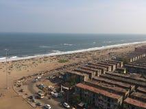 Vue aérienne de plage de Chennai Photos stock