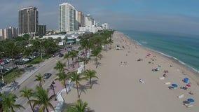 Vue aérienne de plage de Fort Lauderdale banque de vidéos
