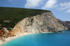 Vue aérienne de plage de Porto Katsiki, île de Leucade Photo stock