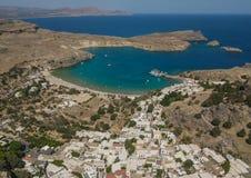 Vue aérienne de plage de Lindos image libre de droits