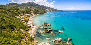 Vue aérienne de plage de Porto Zorro Azzurro dans Zakynthos Zante Photo libre de droits