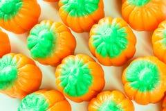 Vue aérienne de plan rapproché de sucrerie de potiron de Halloween Photographie stock libre de droits