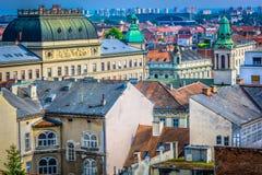 Vue aérienne de plan rapproché sur Zagreb du centre Image libre de droits