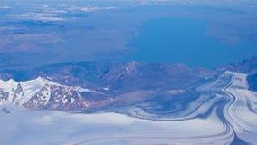 Vue aérienne de région de glacier de Punta Arenas au Chili images libres de droits