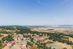 Vue aérienne de région de la Toscane en Italie photographie stock