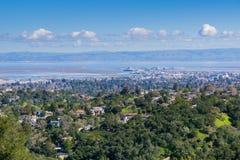 Vue aérienne de Redwood City, Silicon Valley, San Francisco Bay, la Californie images libres de droits