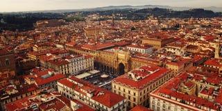 Vue aérienne de Repubblica de della de Piazza (place de République) Florence Photographie stock libre de droits