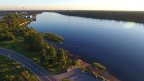 Vue aérienne de rive de Neva clips vidéos
