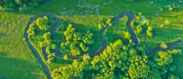 Vue aérienne de River Valley dans la belle lumière de coucher du soleil Photo libre de droits