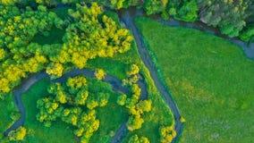 Vue aérienne de River Valley dans la belle lumière de coucher du soleil Photos stock