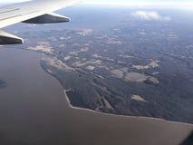 Vue aérienne de rivière boueuse Image libre de droits
