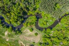 Vue aérienne de rivière de Nida en Pologne Courbures naturelles photo stock