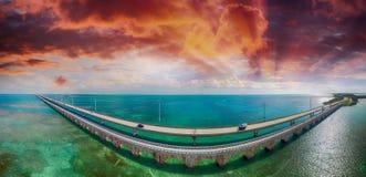 Vue aérienne de route d'outre-mer, la Floride images libres de droits