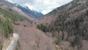Vue aérienne de route de montagne avec des arbres de crête et de vert et d'hiver de neige dans les pays des Balkans banque de vidéos