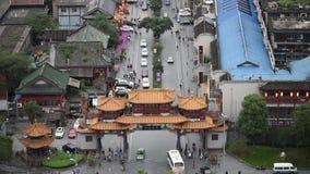 Vue aérienne de rue touristique de Chengdu Qintai clips vidéos