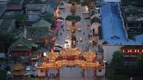Vue aérienne de rue touristique de Chengdu Qintai banque de vidéos