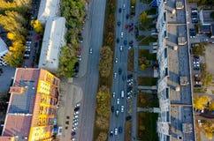 Vue aérienne de rue de ville Tyumen Russie Image libre de droits