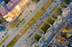 Vue aérienne de rue de ville Tyumen Russie Photographie stock