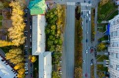 Vue aérienne de rue de ville Tyumen Russie Photos libres de droits